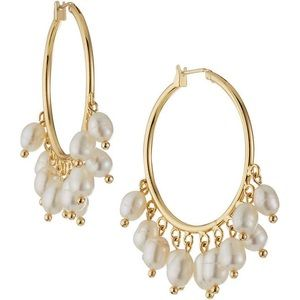 Natasha Accessories Natural Pearl Charm Earrings